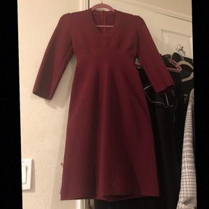 Auth ALAIA burgundy wool dress sz 40 US 2-4